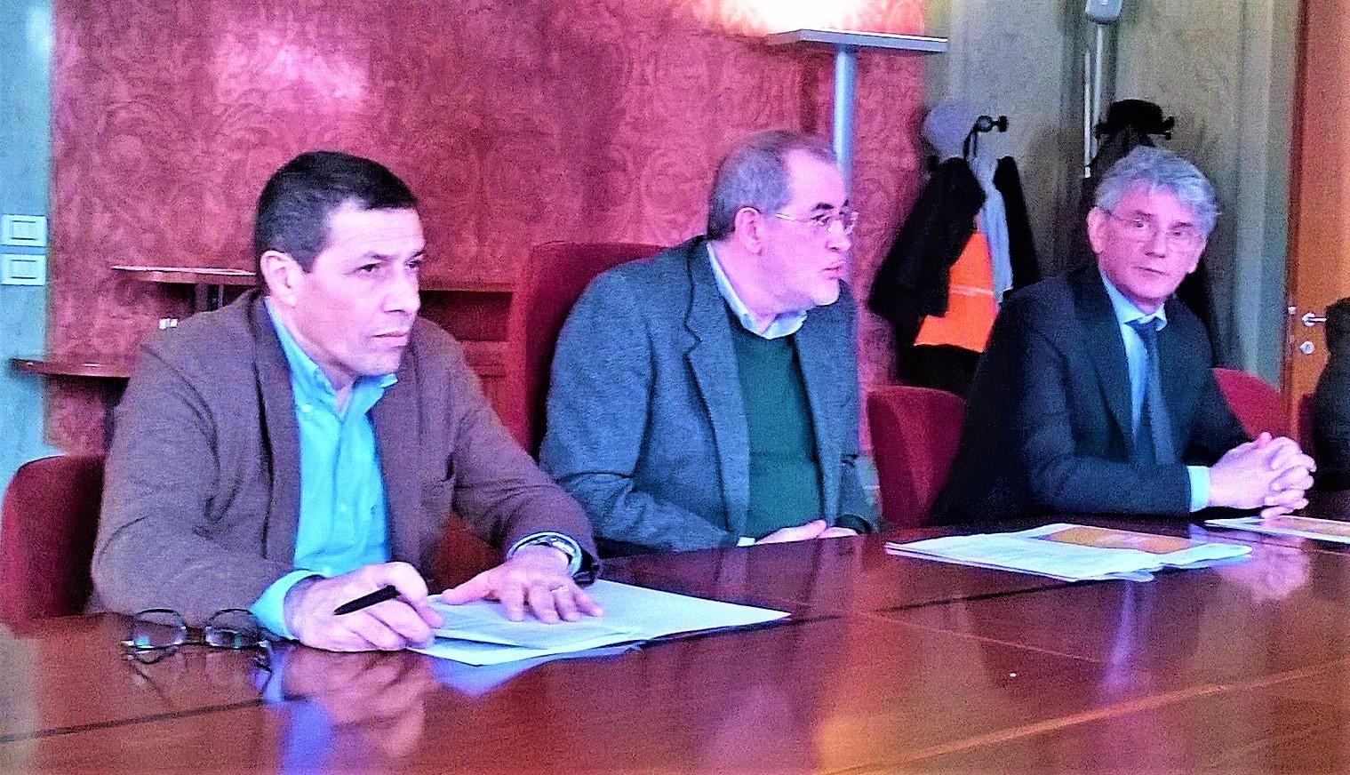 Il prorettore Fabrizio Dughiero, l'assessore Andrea Colasio, e Filiberto Zovico