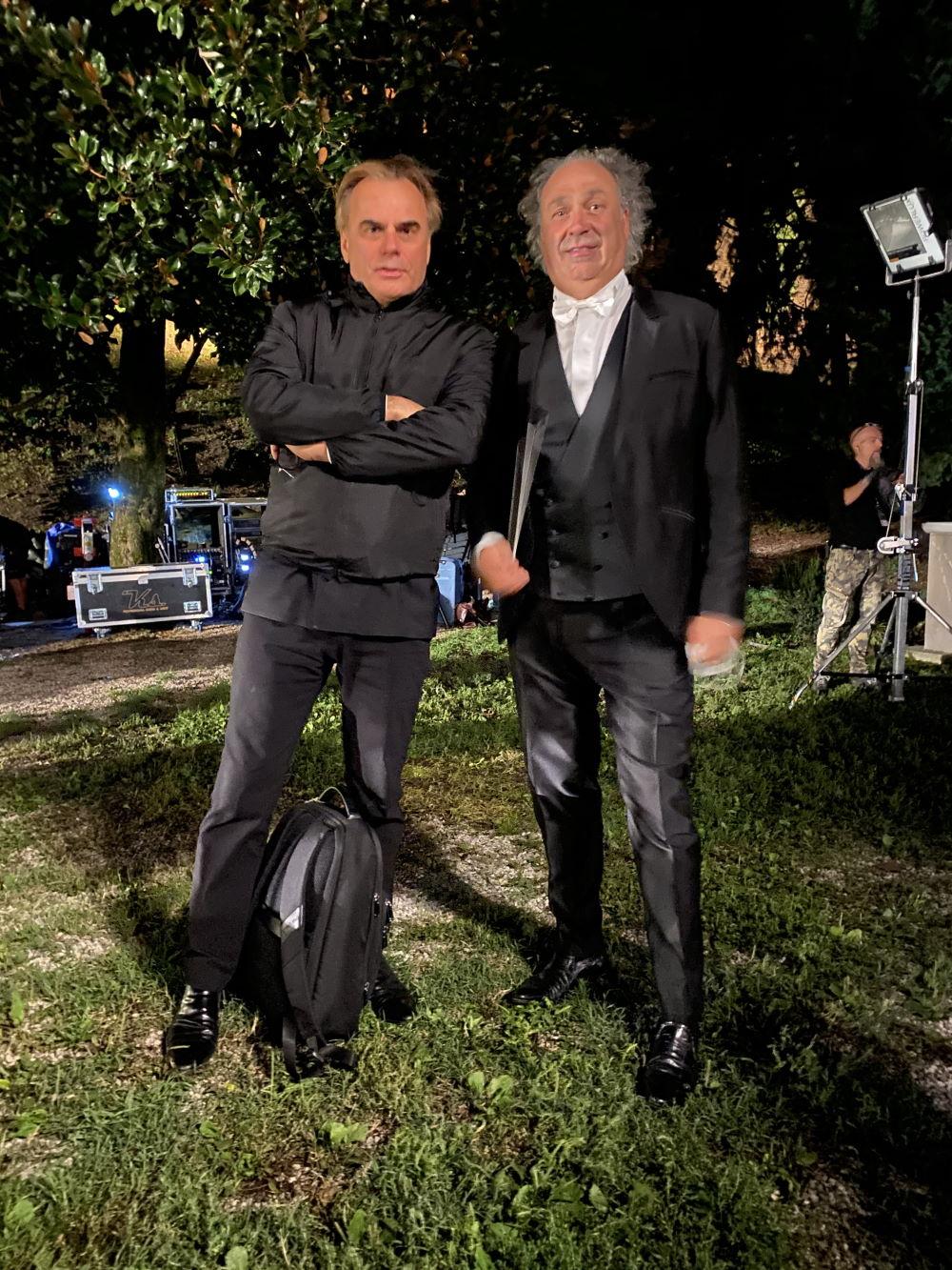 Il flautista Andrea Griminelli e il maestro d'orchestra Diego Basso